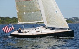Jeff Johnstone on the J/100 in Newport Harbor Newport RI.